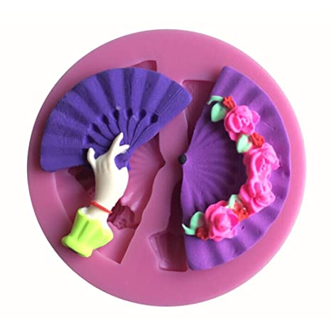 Karen Baking En forma de abanico 3D molde de pastel de silicona para la pasta de