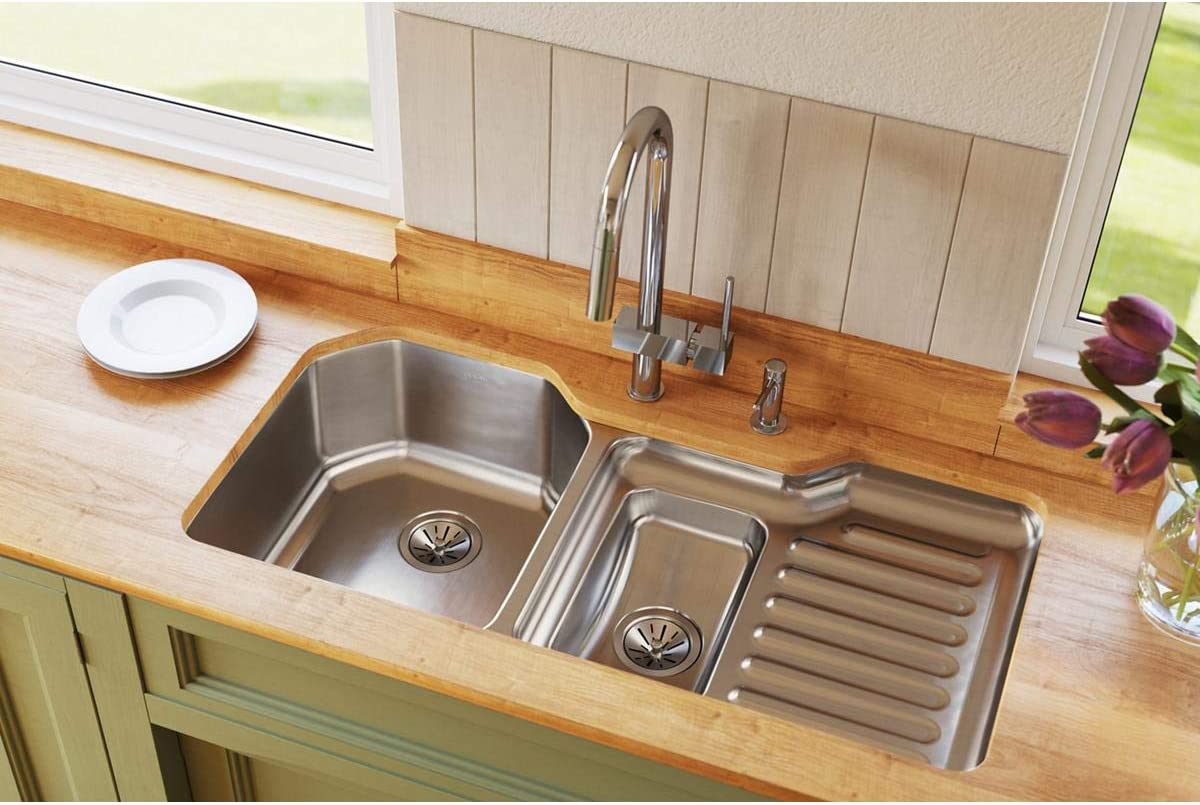 Elkay Lustertone Classic ELUH4221L 40 60 Double Bowl Undermount Stainless Steel Sink