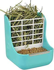 2 in 1 Double Use Thick Hay Food Bin Feeder, Quality Rabbit Feeder Bowls for Grass and Food, Small Animal Supplies Cage Accessories for Rabbit Chinchillas Guinea Pig