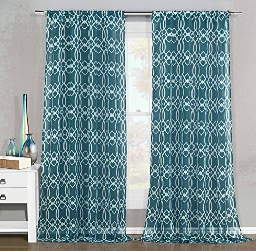 Set of 2 Sheer Window Curtain Panels: White Geometric Design 102
