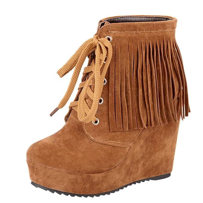 Moda Calzado Zapatos Invierno Mujer Zapatos de cuña con Cordones de Las Mujeres de Moda Borla Botas de tacón Alto Martin Botines Ante Botas QINGXIA_ZI: ...