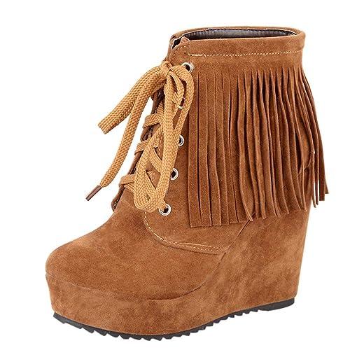 Botas para Mujer,Mujeres Moda con Cordones cuñas Zapatos Flecos de tacón Alto Botas Cortas