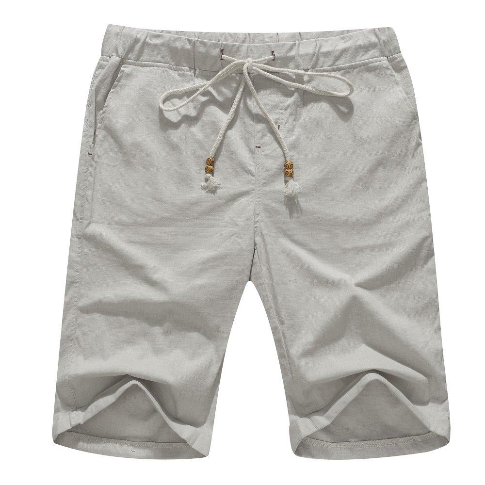 Janmid Men's Linen Casual Classic Fit Short Light Grey M