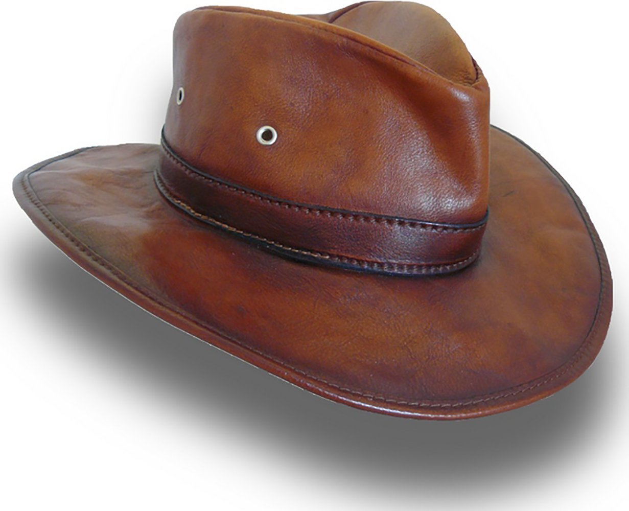 Pratesi Unisex [Personalized Initials Embossing] Italian Leather Cagliostro Western Hat 57 cm - 22 in - 7-1/4 Fitted Size in Brown