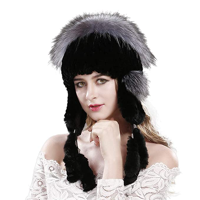 affac2a5718 Lafee Bridal Winter Warm Real Fur Hat Womens Soft Knitted Cap with Ear Flap  Black at Amazon Women s Clothing store
