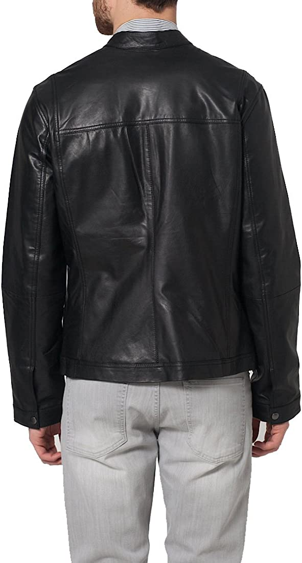 Kingdom Leather New Mens Genuine Lambskin Leather Slim Fit Biker Motorcycle Jacket for Men X365