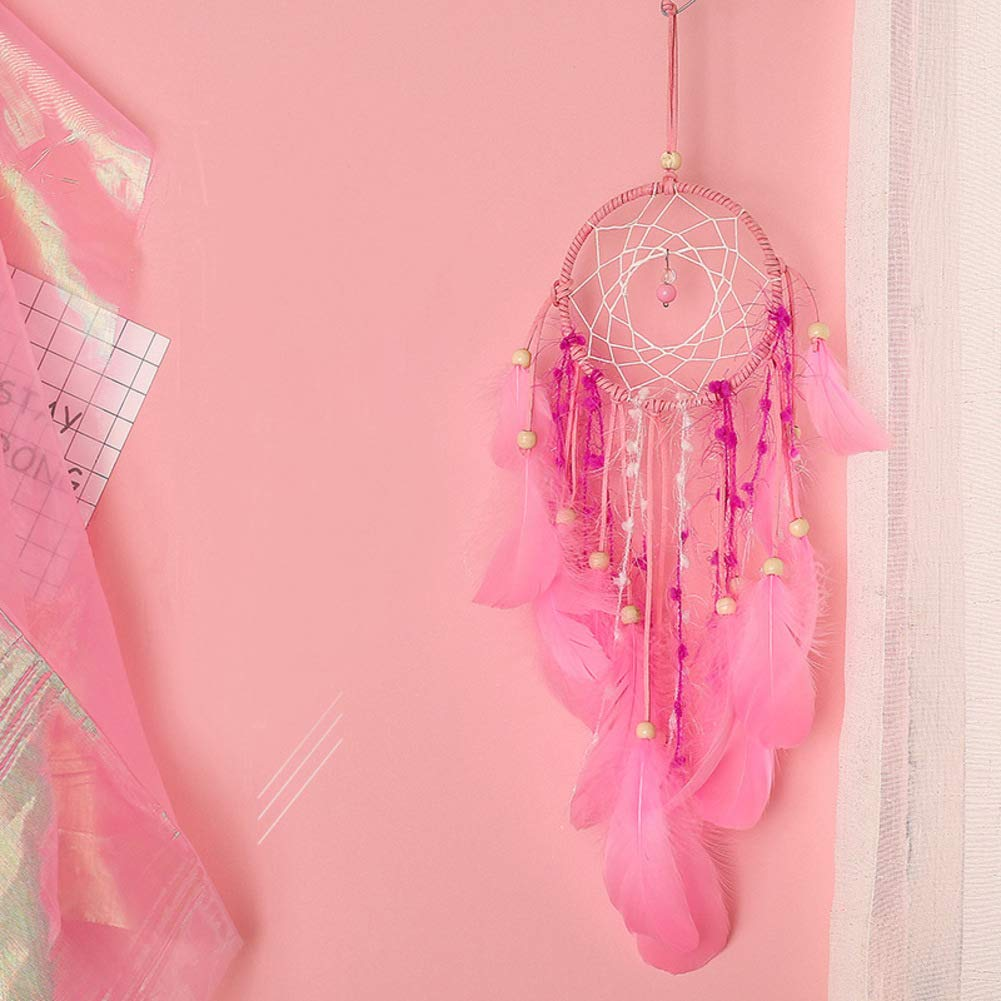 Rart Attrape-rê ves, Cerqueira fait main indienne net Capteur de rê ves de led avec guirlandes Chic suspendus dé coratifs Tenture murale dé corations de plumes Cadeau d'anniversaire-rose 52x11cm(20x4inch)