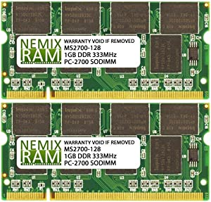 2GB (2x1GB) DDR-333MHz PC-2700 2Rx8 2.5V SODIMM Memory for Laptop, Notebook