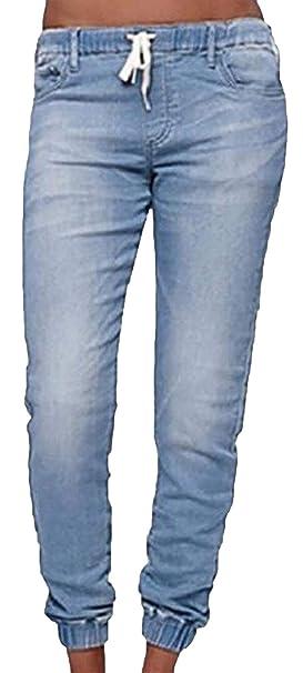 BOLAWOO Pantalón Boyfriend Jeans para Mujer Pantalones con ...
