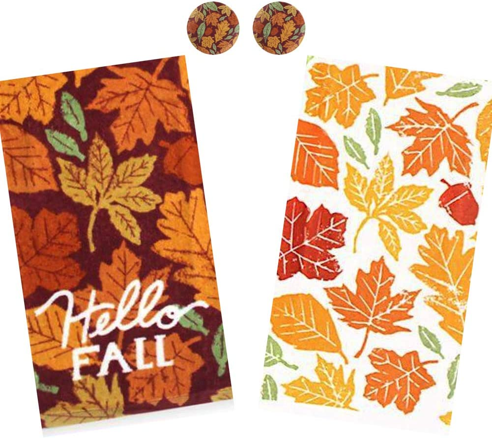 Amazon Com Rex And Rover Hello Fall Autumn Leaves Kitchen Towel Set With Matching Harvest Fridge Magnets 4 Piece Set Home Kitchen