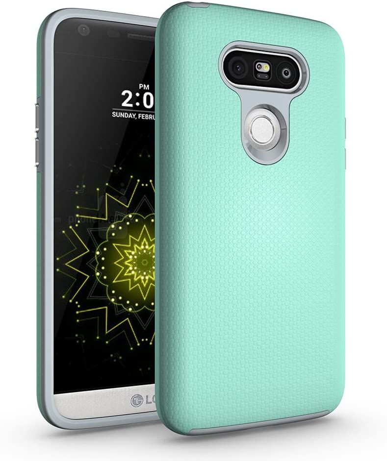 ACMBO LG G5 Non-Slip case, Dual Guard Protective Shock-Absorbing Scratch-Resistant Rugged Drop Protection Cover for LG G5 H820 H830 H860 VS987 LS992 5.3-Inch, Mint Green