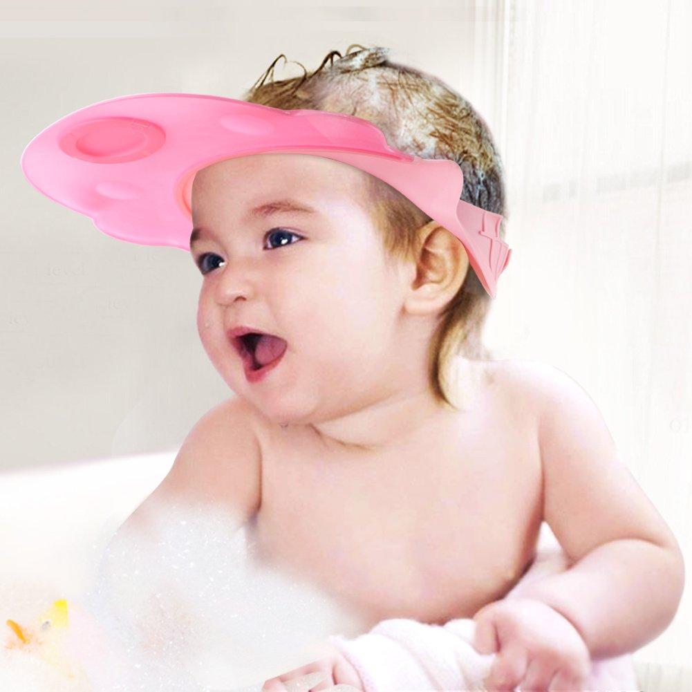 Baby Mate 2pcs Leak Proof Baby Bath Visor (Pink & Blue, Adjustable Straps) - Baby Hair Washing Shield - BBV Eye Protector Shower Visor for Kids - Bath Hat for Toddlers - Baby Shower Bath Cap