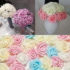 Dds5391 New 50/100Pcs Foam Fake Roses Artificial Flower Wedding Bride Bouquet Party Decor - White 100pcs 54