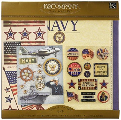 Military Scrapbook Kit (K&Company Military Scrap Kit, 12-Inch x 12-Inch, Military Navy)
