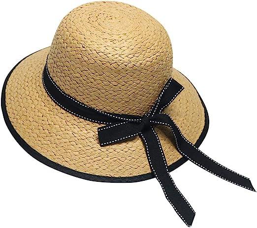 Kids Girls Women Straw Hats Bow Beach Sun Hats Parent Child Big Brim Summer Caps