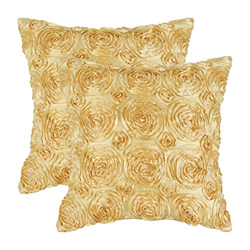 (CaliTime Pack of 2 Cushion Covers Throw Pillow Cases Shells for Couch Sofa Home Solid Stereo Roses Floral 20 X 20 Inches Soft Gold)