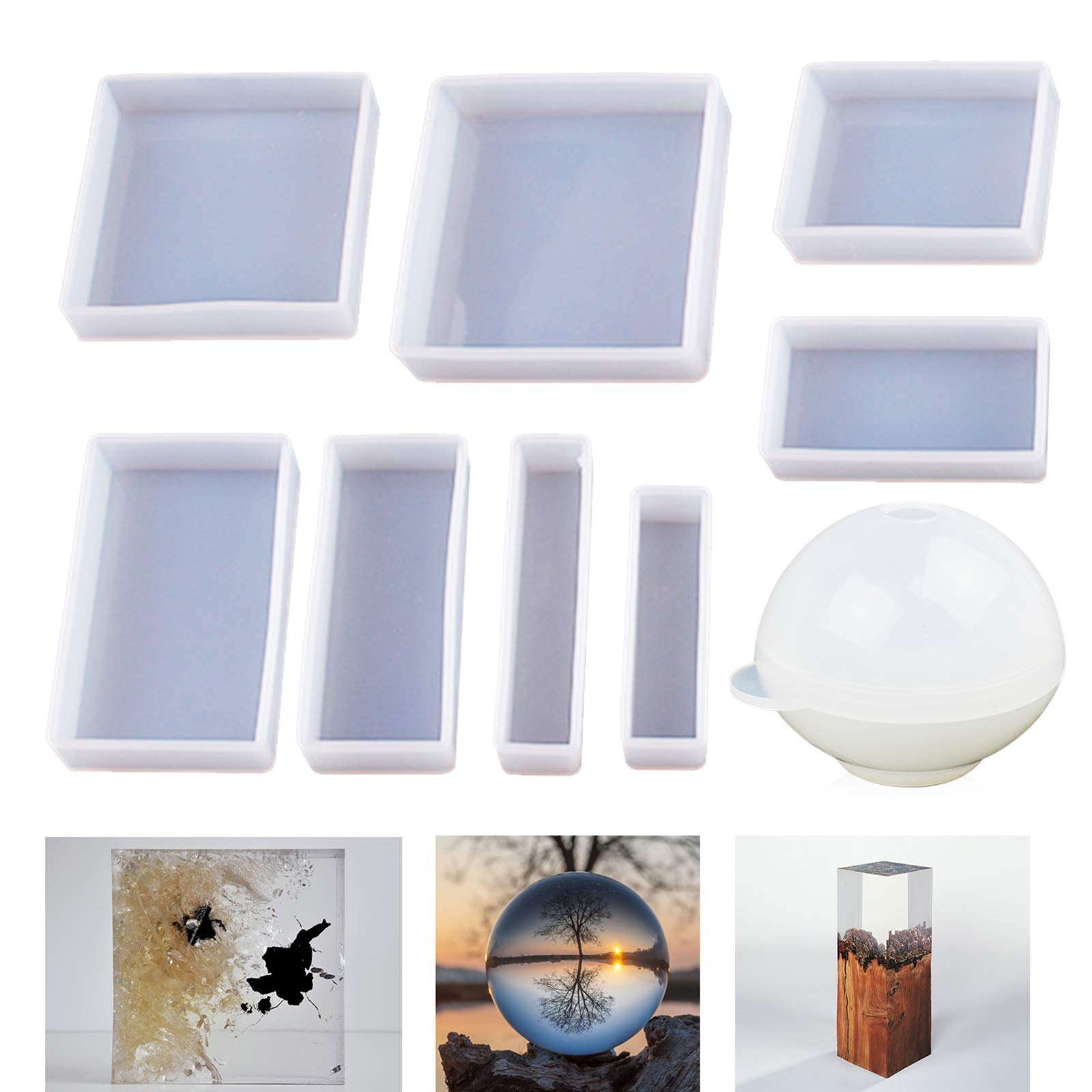LET'S RESIN Epoxy Resin Molds, Resin Casting Molds Silicone Square Ball Molds 9PCS Different Sizes, Silicone Resin Molds for Resin Jewelry, Soap, Dried Flower Leaf, Insect Specimen DIY Fans
