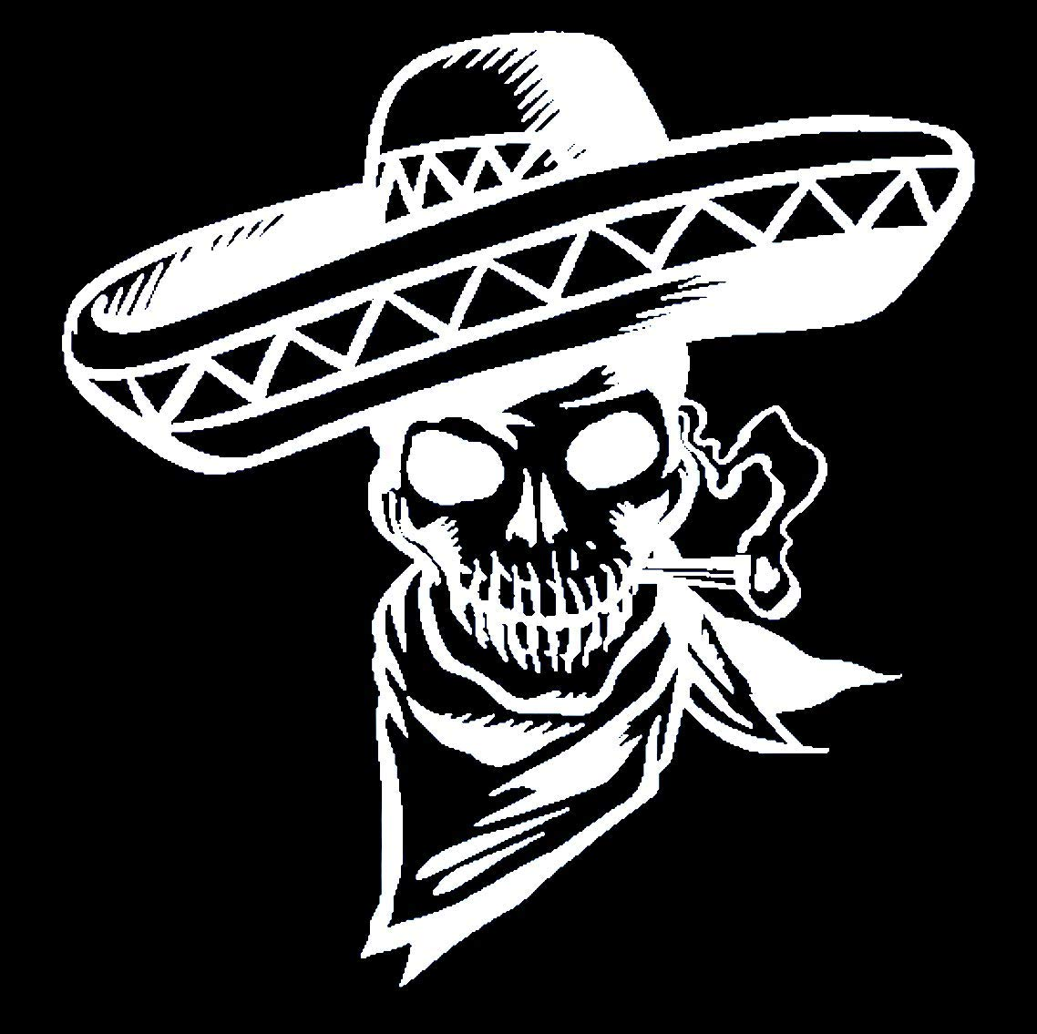 Amazon com decal stickers traditional mexican skeleton with sombrero car truck laptop suv macbook wall window decal 6white computers accessories