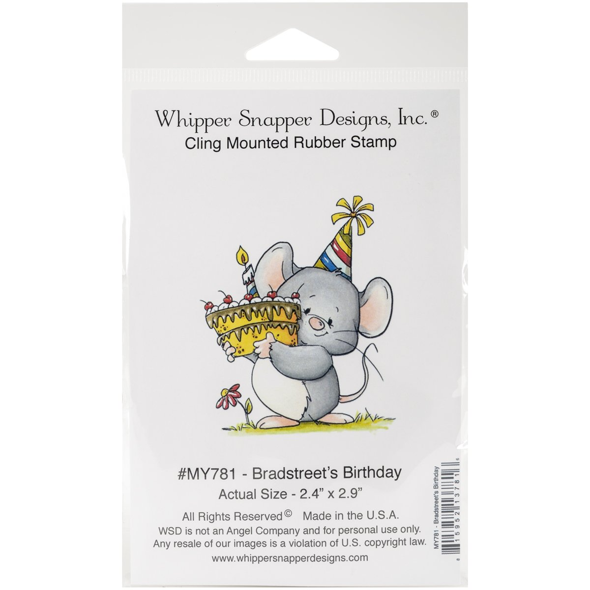 4.25 by 7 Whipper Snapper Designs Bradstreets Birthday Cling Stamp