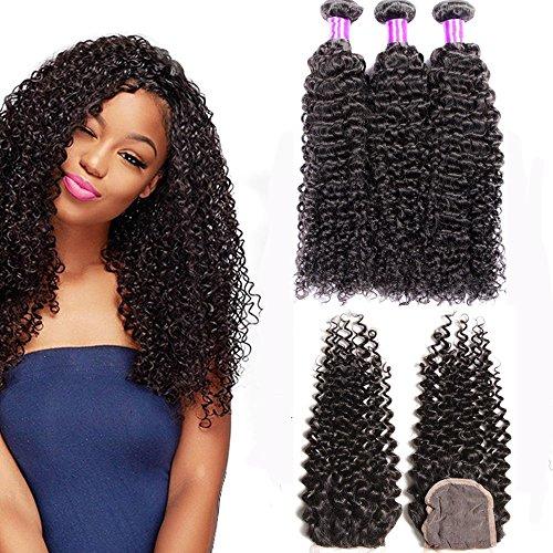 Jif Hair Brazilian Kinky Curly Virgin Human Hair Weave 3 Bundles 14 16 18 with 1 Piece 4''x4