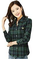 Juanshi Women's Check Flannel Shirt Color Purple & White