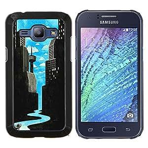 Arte Río de ciencia ficción Ciudad Deco Libertad- Metal de aluminio y de plástico duro Caja del teléfono - Negro - Samsung Galaxy J1 / J100