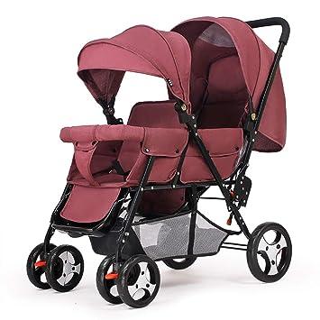 Yhz@ Cochecito Doble Carro de bebé Doble Sentado hacia atrás y ...