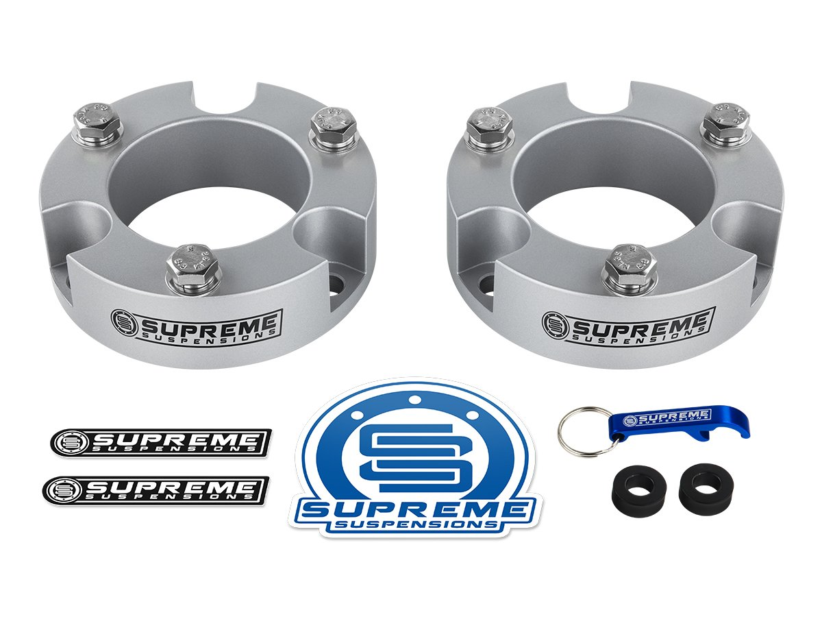 Supreme Suspensions - Toyota Tacoma Leveling Kit 2'' Front Lift Aircraft Billet Strut Spacers (Silver)