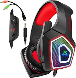Gaming Headset with Mic LED Light On Ear Gaming Headphone PS4,3.5mm Wired Gaming Headset for PC Mac Laptop Gamer Headphone (Red)