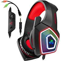 Xbox One Headset with Mic LED Light On Ear Gaming Headphone PS4,3.5mm Wired Gaming Headset for PC Mac Laptop Nintendo…
