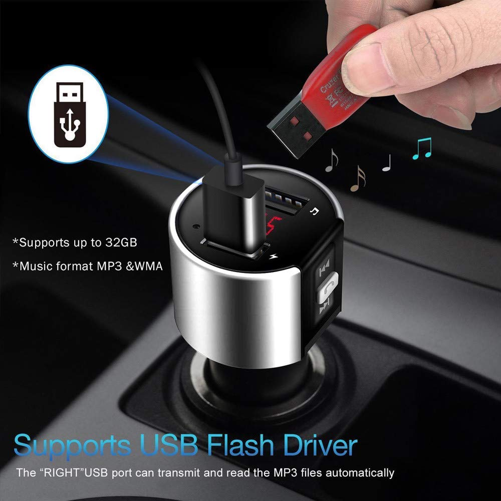 AmyGline Bluetooth Car Kit FM Transmitter Wireless LED Touch Multifunktionale Dual USB Ports Autoladeger/äte MP3-Player