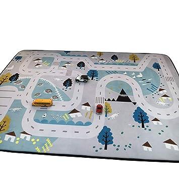 Holzspielzeug Bloomingville Kinderzimmer-Teppich Auto Spielteppich