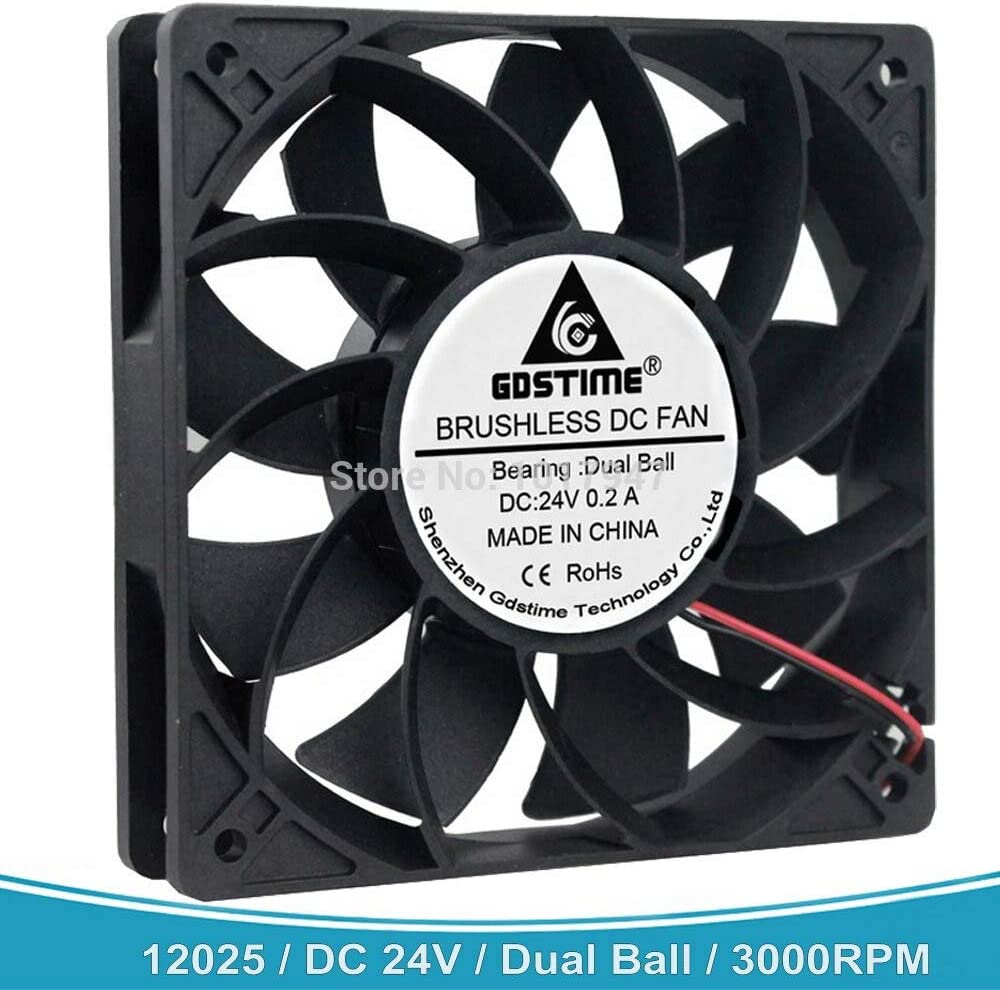 Gdstime 120mm 12025 DC 24V 2Pin 120x120x25mm 12cm Dual Ball Bearing High Pressure Server Cooling Fan