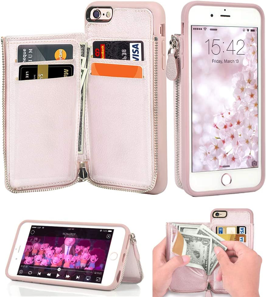 LAMEEKU iPhone 6 Wallet Case, iPhone 6s Leather Case, Shockproof iPhone 6 Card Holder Cases with Credit Card Slot Zipper Wallet Purse Money Pockets, Protective Cover for Apple iPhone 6/6s- Rose Gold