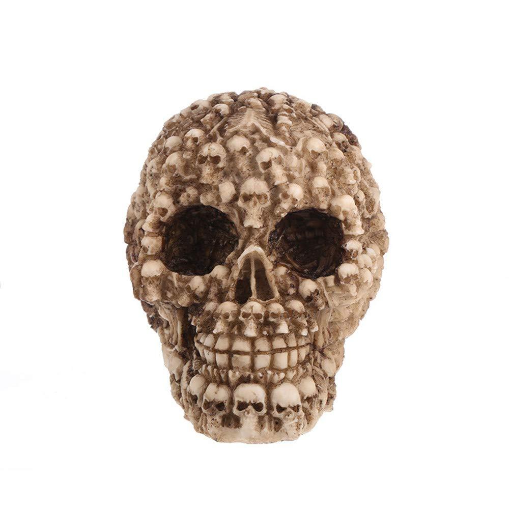 Human Skull Statue,INorton Realistic Resin Skull Life Size Halloween Ornaments Simulation Model Creative Human Skull Sculptures