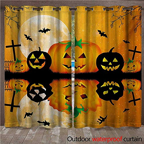 WilliamsDecor Halloween 0utdoor Curtains for Patio Waterproof Spooky Carved Halloween Jack o Lantern and Full Moon with Bats and Grave Lake W96 x L84(245cm x 214cm)