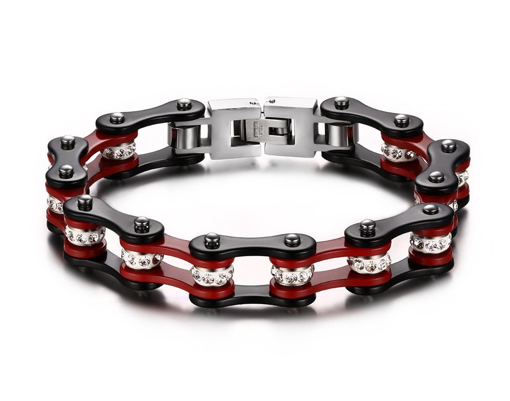 Mealguet Jewelry Men's Stainless Steel Motorcycle Biker Chain Link Bracelets with Rhinestones, 6 Colors MG-BR-195