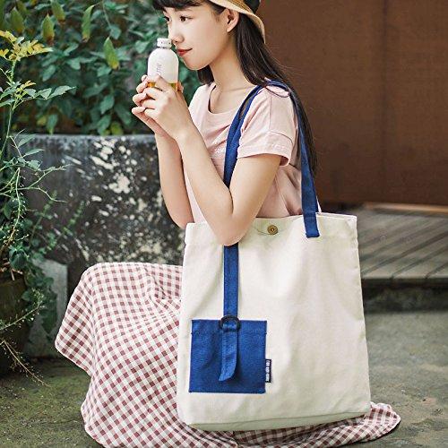 Tela in cotone Yile Eco shopping Tote borsa a tracolla colore solido coordinati da polso maniglia 711a (bianco)