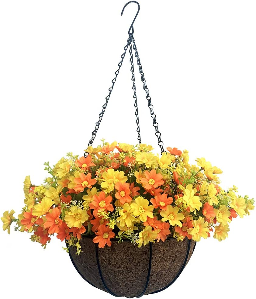 Lopkey Artificial Daisy Flowers Outdoor Indoor Patio Lawn Garden Hanging Basket with Chain Flowerpot,10 inch Yellow