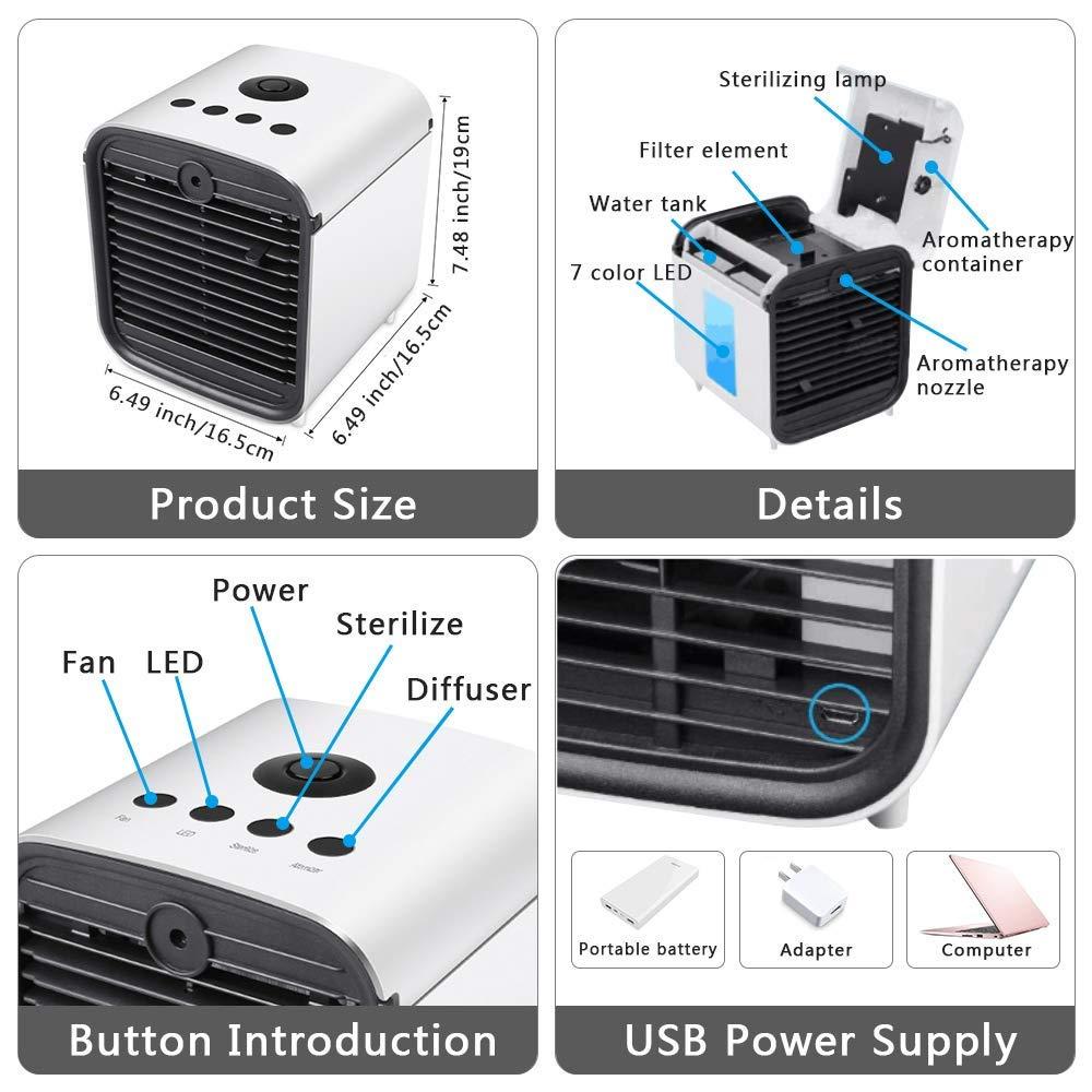 Klimager/äte Ventilator Luftbefeuchter Luftreiniger Aromatherapie USB Mini Pers/önlicher Luftk/ühler 3 Geschwindigkeiten 7 Farben LED f/ür B/üro Haus ZEHNHASE Mobile Klimaanlage