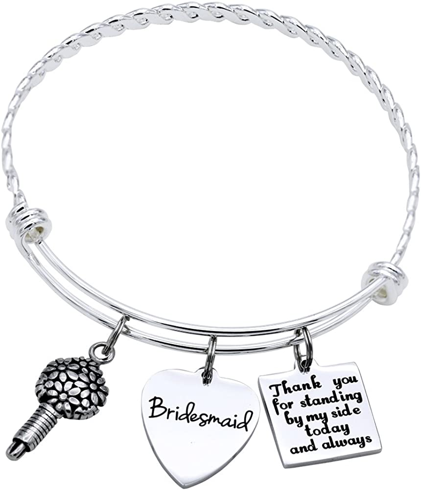 Melix Home Bridesmaid Gifts Ideas Bracelet Thank You for Standing by My Side Today and Always Gifts for Women Best Friend Bangle