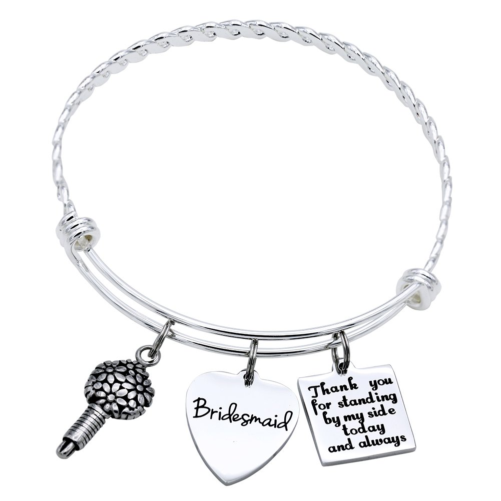 Melix Home Bridesmaid Gift Ideas Bracelet, Personalized BFF Wedding Party Gifts Jewelry, Thank You for Standing by My Side Today and Always, Best Friend Soul Sister Bangle Bridal Party Gifts B074QPJ5VC_US