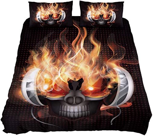 MUOOUM DJ Fire Skull Juego de cobertor de 3 Piezas, Ultra Suave y de fácil Cuidado,