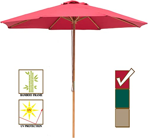 SUNBRANO 9ft Bamboo Outdoor Patio Umbrella Market Backyard Table Umbrella Pulley Lift, 8 Ribs, Red