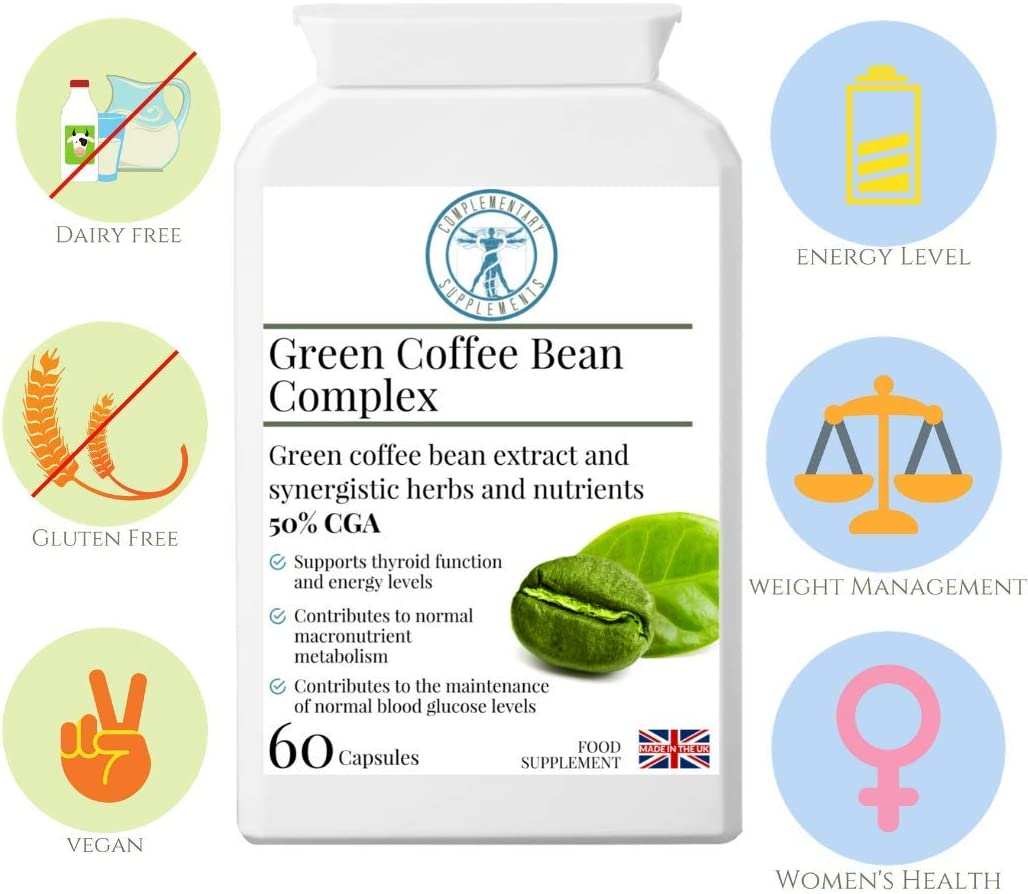 Green Coffee Bean Complex HIGH Strength Concentrated Formula 50 Chlorogenic Acid CGA Herbs Extracts and Nutrients Weight Loss Cravings Management Support Vegan 60 Capsules