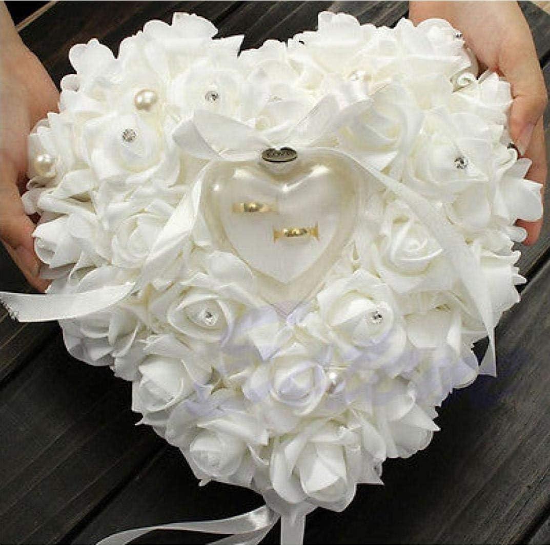 Odoukey 1 St/ück Heart-Shaped Rose Simulations-Blumen Ring-Kasten Romantische Hochzeit Ring-Halter Pedestal Dekoration