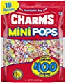 Charms Mini Pops 18 Assorted Lollipop Flavors with Re-sealable Candy Bag (400 Count) Peanut Free and Gluten Free
