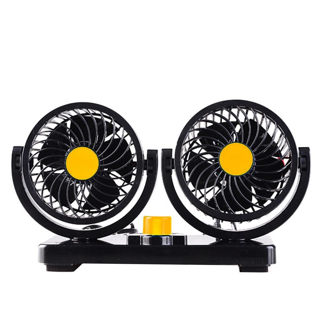 Firiodr 12V/24V 360 Degree Rotation Adjustable Dual Head Car Auto Cooling Air Fan 2 Speed Thin Grille Mute Summer Fan