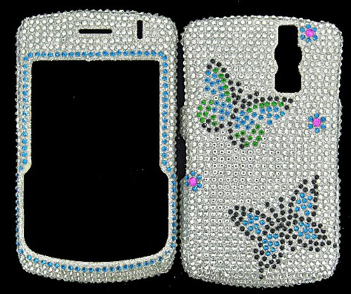 FULL DIAMOND CRYSTAL STONES COVER CASE FOR BLACKBERRY CURVE 8300 8320 8330 BUTTERFLIES Blackberry 8300 Curve Faceplate Cover