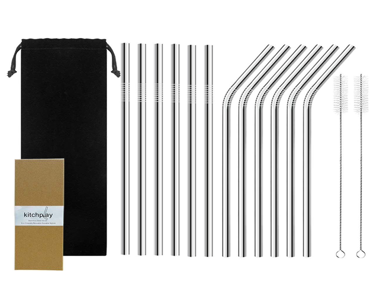 Reusable Metal Straws -Length of 10.5'' Long Stainless Steel Drinking Straws for 30oz Tumbler Yeti, Set of 12 Aluminum Straw Includes 6 Straight Straws 6 Bent Straws & 2 Cleaning Brush
